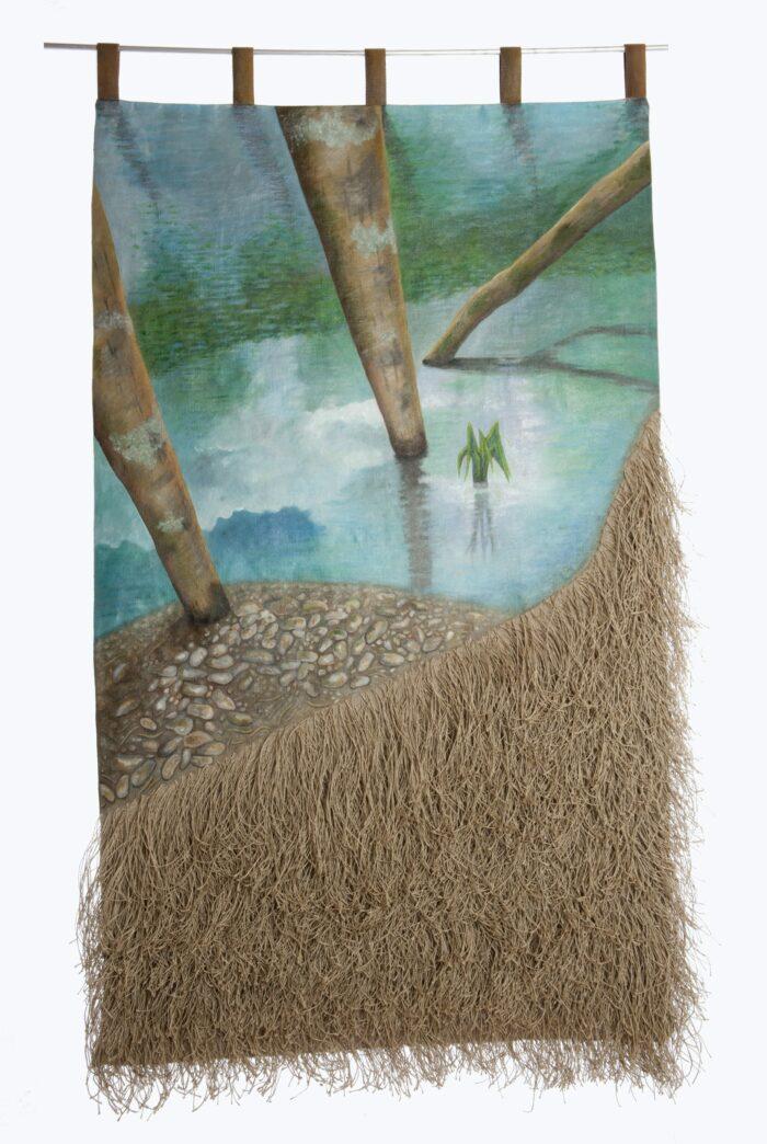 Peinture acrylique sur toile de lin. Fils de lins noués. 1,49 X 0,80 m
